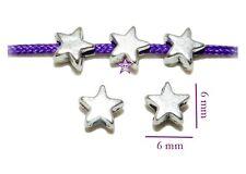 80 Estrellas entrepiezas 6mm agj. 1,5mm plata tibetana abalorios beads star