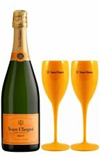 VEUVE CLICQUOT CHAMPAGNE 75cl with 2 Poolside Drinking Flutes