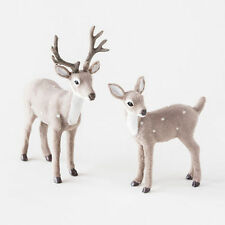 GF0027 Set/2 Gray Deer Christmas Table Figure Decoration Wildlife Hunting Lodge