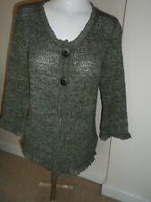Marks & spencer ladies chunky khaki green cardigan size 12