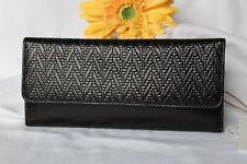 NEW wTag Embossed Black HOBO International Leather SADIE Clutch Purse WALLET