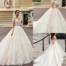 Champagne Long Length Bridal Gown Wedding Dress Lace Applique Custom Size 6-20+