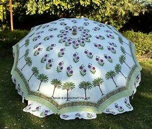"Indian Hand Block Print Patio Outdoor Parasol Decor Large Garden Umbrella 80"""