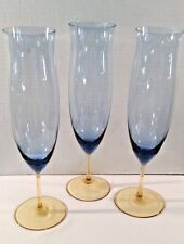 3 Elegant Amber Stem/Blue Bowl Champagne Toasting Flutes