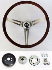 "Chevelle Impala Nova El Camino Low Gloss Finish Wood Steering Wheel 15"" SS Cap"