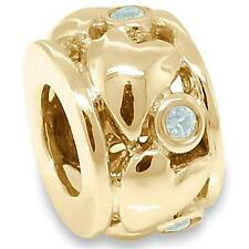 Real Heart Aquamarine 9ct 9K 375 Solid Gold Bead Charm FIT EURO BRACELETS