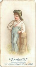 Corticelli Spool Silk Victorian Trade Card Boy Hat Tree Stump