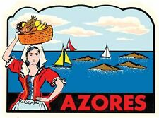Azores Islands Portugal   Vintage 1950's-Style   Travel Decal  Sticker  Label