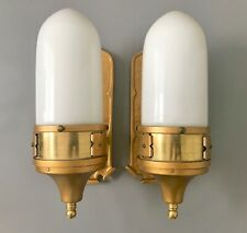 Pair of Art Deco Wall Sconces / Torpedo Glass / Skyscraper Design / Solid Brass