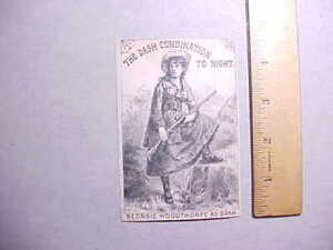 1880s GEORGIE WOODTHROPE STAGE ACTRESS THEATER TRADE CARD ANNIE OAKLEY LOOKALIKE