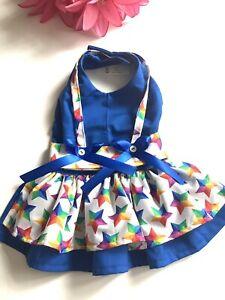 Handmade Colorful Stars Doggie Dress Size M