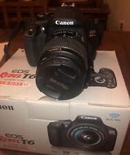 Canon EOS Rebel T6 DSLR camera EF-S 18-55 IS II full kit 2 scandisk memory cards