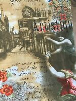 Stretch Jeans Fotodruck Baumwolle Elastan Romantic Muster Rokoko Stil 42 44
