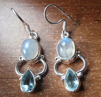 Faceted Blue Topaz and Moonstone 925 Sterling Silver Dangle Earrings Corona Sun