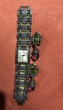 HEIDI DAUS MULTI COLOR CRYSTAL BRACELET WATCH B5300B BRONZE MATCHING EARRINGS