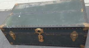 Antique Wooden Steamer Trunk - GDC - NEEDS TLC - GREAT TRUNK - MID-SIZE - USEFUL