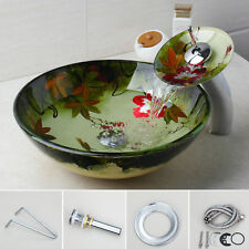UHand Colorful Tempered Glass Bathroom Vessel Sink Basin Bowl Mixer Faucet Combo