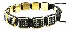 Mens Womens Gold Square Shamballa Bracelet Black Pave Crystals One Size NEW #17
