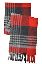 "Brooks Brothers Mens Red Black Plaid Merino Wool Rectangle Scarf 70 x 10"" 8099-5"