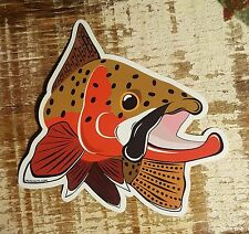 "CUTTHROAT TROUT Sticker Decal fly fishing Kype 4"" x 4 1/2"" glossy weather proof"