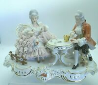 Dresden Lace Carl Thieme Porcelain Figurine Couple Playing Dice and Dog Antique