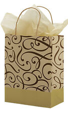 Chocolate & Gold Swirl Paper Medium Shopping Bag 8 x 4 ½ x 10 ¼ Inch -Lot of 100