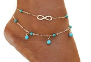 Infinity Ankle Bracelet Turquoise Beads Anklet