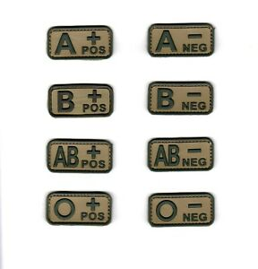 PVC Army Tactical Morale Patch Blood Type A B AB O Camo Olive Color