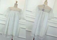 MW007780 - CUTE WHITE LACE ORGANZA DOLLY GIRL A-LINE DRESS (SIZE M)
