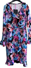 Ladies Very Floral Dress UK 12 Stretch Crossover V Neck Frill With Tags