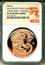 2016 China Medal Piefort 40mm Copper Year Of The Monkey NGC PF70 Ultra Cameo