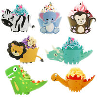 12PCS Cute Cartoon Dinosaur Cupcake Wrapper Paper Kids Birthday Party Cake Decor
