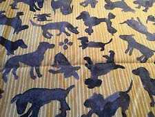 Dog pattern, playful puppies fabric FQ,Grey on yellow/ mustard. craft, sewing
