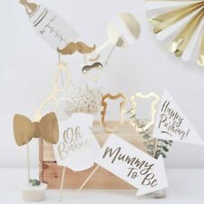 Ginger Ray White & Gold Unisex Baby Shower Photo Booth Props