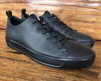Mens Ecco Casual Fashion Sneakers Walking Shoes Black Leather Size EU 43 US 10