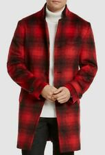 $298 International Concepts Men Red Plaid Wool Peacoat Overcoat Topcoat Jacket M