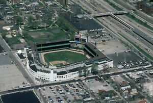 Chicago White Sox old Comiskey Park aerial view color photo sharp