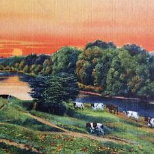 Vintage Maine Linen Postcard Cows at Sunset 1930s Farming American Countryside