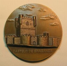 Castle Bragança, Portugal / Watchtower / Shield Big Bronze Medal by Canedo M.16a