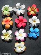 Set of 10 Hawaiian Plumeria Foam Flower Hair Clips Pointed Petal Tips Wedding