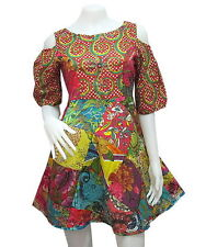 Peasant Boho Hippie Short Sleeve Open Shoulder Patchwork Short Dress  YP400