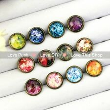 12pairs10mm Fashion Earrings Stud Earrings Glass cabochon Earrings The colorful