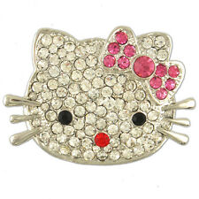 CRYSTAL HELLO KITTY CAT PIN BROOCH MADE WITH SWAROVSKI ELEMENTS
