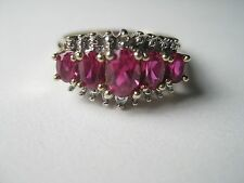 Vintage 10kt Ruby Diamond Ring, spinel? s.7.5, reserve under $150.00