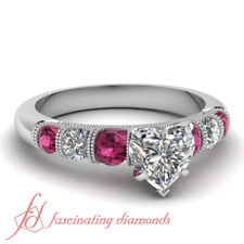 1 Ct Antique Inspired Heart Shaped And Pink Sapphire Engagement Ring In Platinum