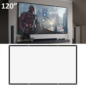Portable 120'' inch Fabric Matte White Projector Projection Screen Home UK