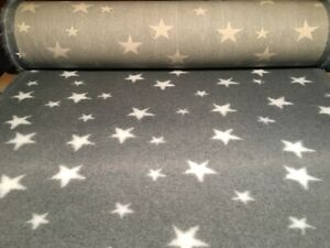 Non Slip Vet Bed Dog Puppy Pet Whelping Fleece Grey White Stars 15 Size Freepost