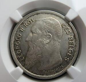 BELGIUM 2 Francs 1909 NGC AU 55 French type UNC