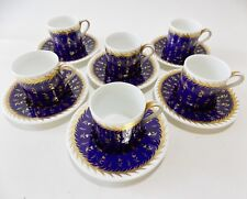 SIX ' ST JAMES ' WEDGWOOD DEMITASSE CUPS AND SAUCERS COBALT BLUE AND GOLD NICE