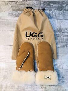 UGG Womens Sheepskin Mittens Chestnut Suede Brown Size Medium Winter W/ Bag